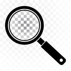Black magnifier icon on transparent background. Vector illustration