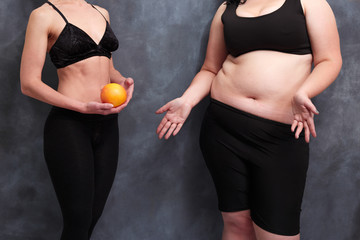 Fit woman with grapefruit and starving overweight lady. Anorexia, hunger harm, healthcare, weight loosing, fitness, well-being concept