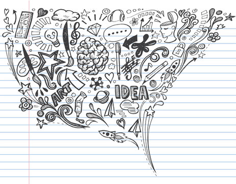 Creative art doodles hand drawn Design illustration on lined notebook paper