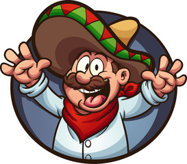 Happy Mexican man with arms up. Vector clip art illustration with simple gradients. All in a single layer.
