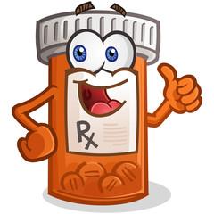 Prescription Pill Bottle Cartoon Character