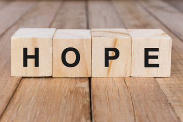 Word Hope on wooden blocks