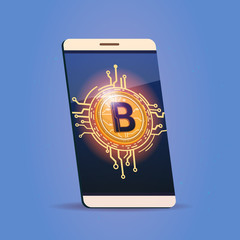 Cell Smart Phone With Bitcoin Icon Digital Web Money Crypto Currency Concept Vector Illustration