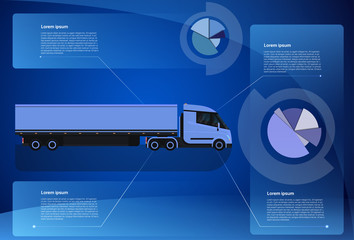 Infographic Banner Cargo Truck Trailer Vehicle Over World Map Worldwide Shipping And Delivery Concept Vector Illustration
