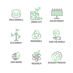 Modern Flat thin line Icon Set in Concept of Ecology with word Wild Animal,Green city,Solar Energy,Eco Energy,Renewable,Save the world,Save water,Research,Ecology Process.Editable Stroke.