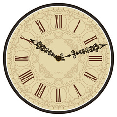 Antique old clock face. Vector