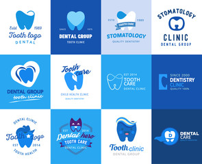 Dental tooth logo vector dentist clinic logotype toothcare icon stomatology dentistry care design set illustration isolated on white background
