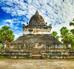 Beautiful view of stupa in Wat Visounnarath. Laos.
