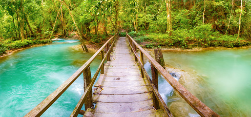 Bridge on the way to Tat Sae Waterfalls. Beautiful landscape. Laos. Panorama