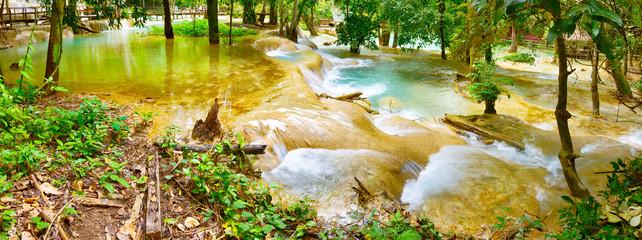 Tat Sae Waterfalls. Beautiful landscape. Laos. Panorama