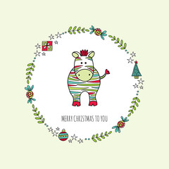 Cute Christmas themed zebra surrounded by a wreath with branches, present, stars, baubles, christmas tree and the words merry christmas to you, vector illustration.