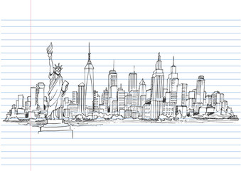 New York vector drawing,hand drawn on lined notebook paper.-vector illustration.