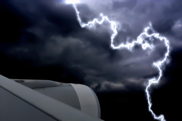 Flying through the lightning storm on bad weather day.