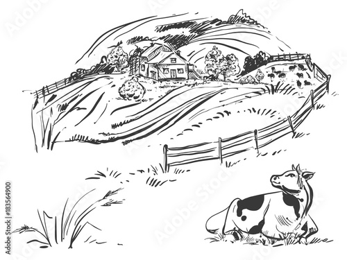 Hand drawn black and white illustration of farm and field