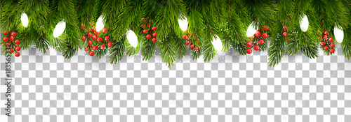 Christmas Transparent Background.Christmas Holiday Decoration With Branches Of Tree And