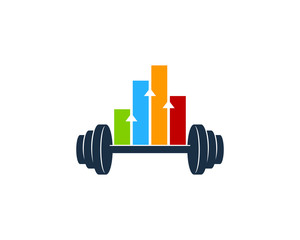Barbell Stats Icon Logo Design Element