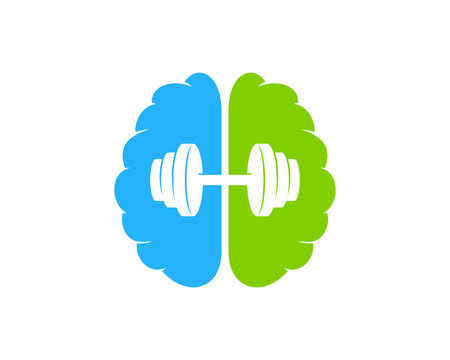 Brain Barbell Icon Logo Design Element