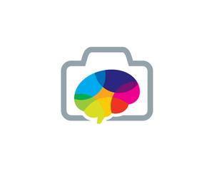 Camera Brain Icon Logo Design Element