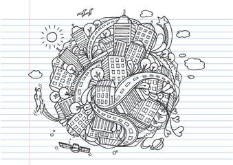 world city doodles elements on lined notebook paper.- Vector illustration