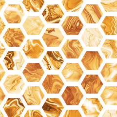 Abstract seamless hexagonal pattern with golden marble textures. Fantasy design for wallpapers or fabric.