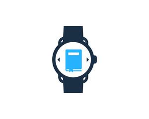 Smartwatch Book Icon Logo Design Element