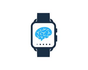 Smartwatch Brain Icon Logo Design Element