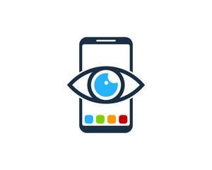 Smartphone Eye Icon Logo Design Element