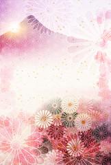 富士山 年賀状 菊 背景