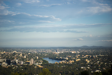 View of Brisbane and surrounding suburbs from Mount Coot-tha during the day
