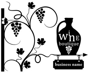 Business wine boutique sign