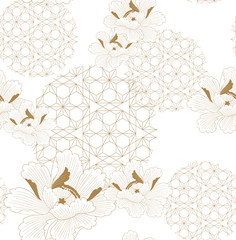 Chinese pattern seamless vector. Gold floral with Japanese geometric elements background for textile, wrapping paper, backdrop, template, cover page design.