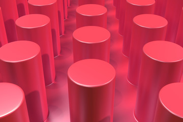 Plain red surface with cylinders