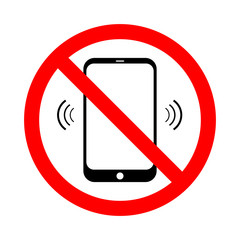 Mobile Phone prohibited. No cell phone sign isolated on white background. Vector illustration.