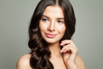 Young Woman with Healthy Skin and Brown Hair