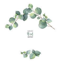 Watercolor vector wreath with green eucalyptus leaves and branches.