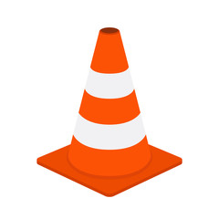 Traffic cone, equipment for safety, road. Cartoon flat style. Vector