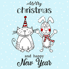Greeting card merry christmas or new year illustration card with funny dog and cat.