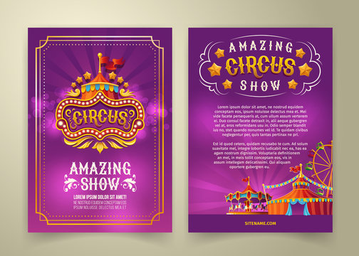 Vector circus flyer, cartoon banner, purple background with vintage emblem of the cirque and space for your text. Poster for advertising an amazing circus show, invitation, admission ticket