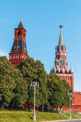 Moscow, Kremlin Wall Towers in Moscow.Russia