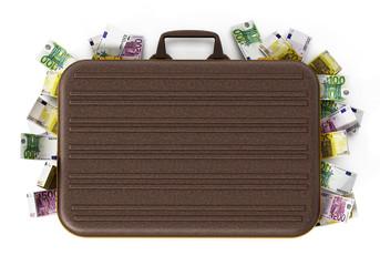 Euro piles inside briefcase. 3D illustration
