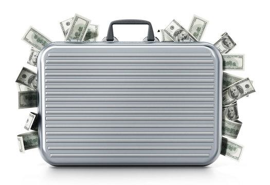 Dollar piles inside briefcase. 3D illustration