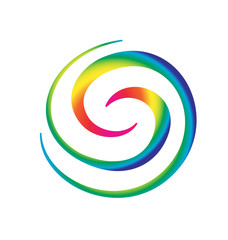 Rainbow spiral waves vivid colors icon