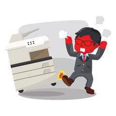 Blue businessman angry kicking photocopy machine– stock illustration