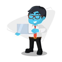 Blue businessman holding laptop– stock illustration