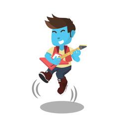 Blue rocker guitarist jump– stock illustration