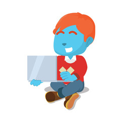 Blue boy studying with laptop– stock illustration