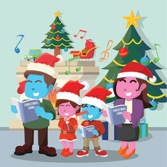 Family singing christmas carol– stock illustration