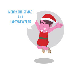 Pink girl with callout merry christmas and happy new year– stock illustration