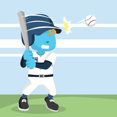 Blue baseball player hitting ball– stock illustration