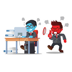 A businessman shouting into hard-working employees– stock illustration